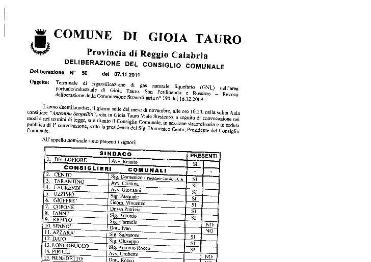 Gioia Tauro - Delibera di revoca dell'autorizzazione al rigassificatore