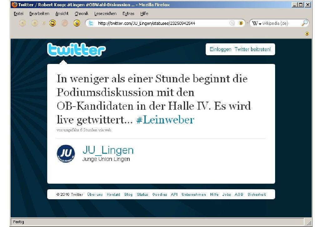 Twitter-Kommentare zur OB Podiumsdiskussion 2010