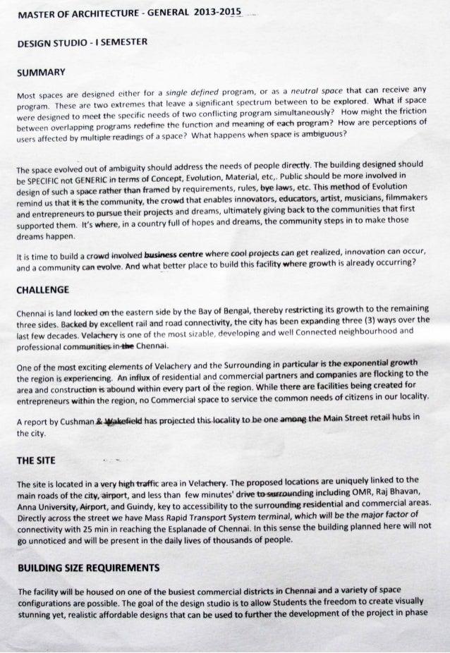 M.Arch [general] Mall Design Brief