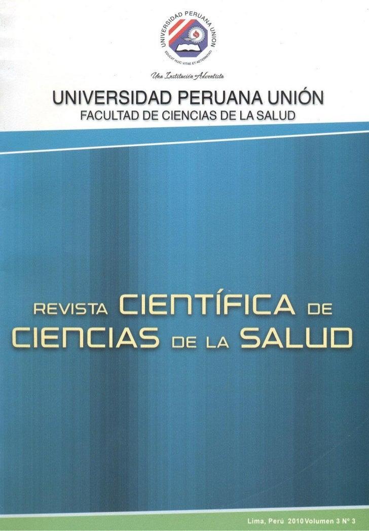 Revista Cientifica de la Facultad de Ciencias de la SaludLima, PerúLima, Perú                                          201...
