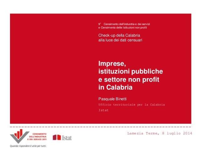 P. Binetti - Imprese, istituzioni pubbliche e settore non profit in Calabria