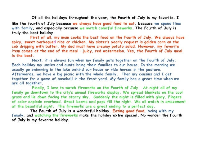 essay on favourite holiday