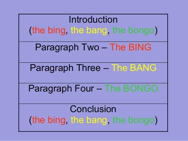 bing bang bongo five paragraph essay powerpoint Bing, bang, bongo five paragraph essay outline i introduction a topic sentence: _____.