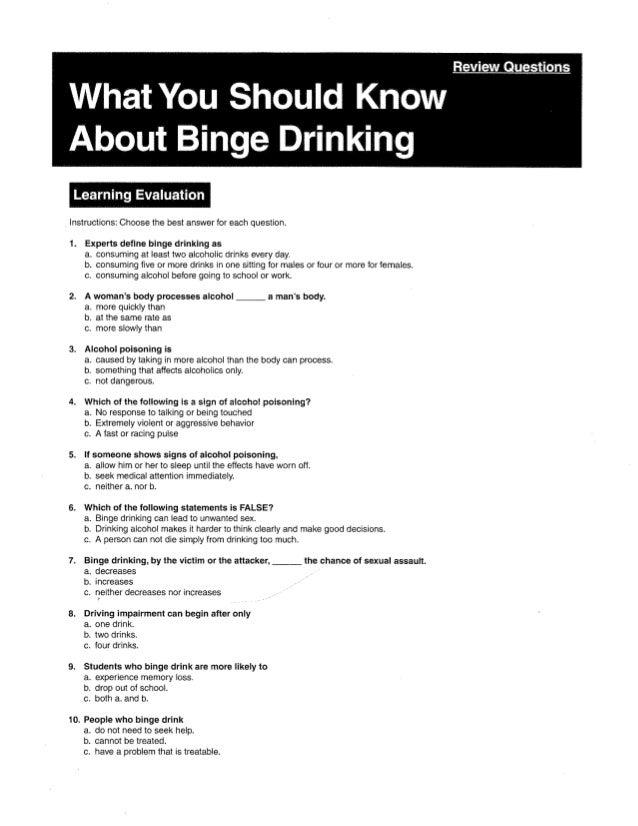 Binge drinking quiz