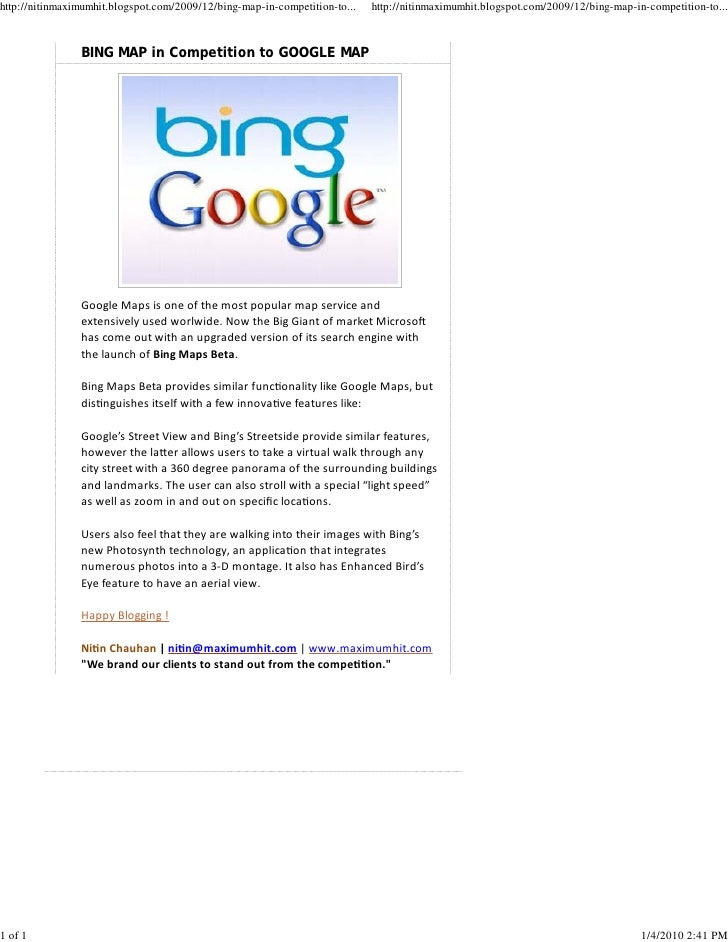 Bing Map In Competition To Google Map