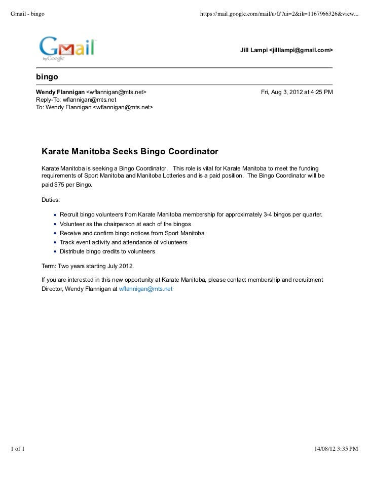 Bingo Coordinator Position with Karate Manitoba 2012-2014