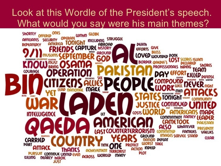 Look at this Wordle of the President's speech.  What would you say were his main themes?