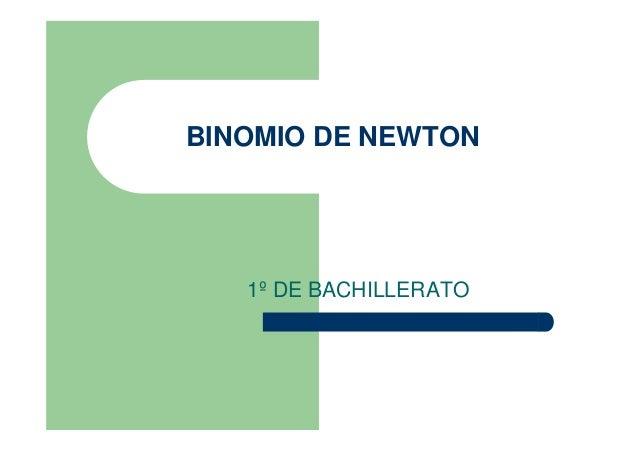 BINOMIO DE NEWTON 1º DE BACHILLERATO