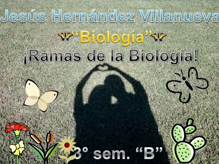 """Jesús Hernández Villanueva<br />""""Biología""""<br />¡Ramas de la Biología!<br />3° sem. """"B""""<br />"""