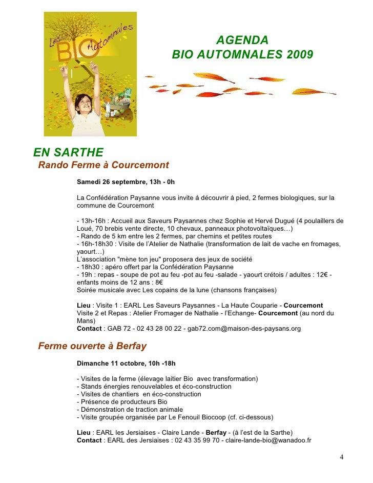 AGENDA                                        BIO AUTOMNALES 2009     EN SARTHE Rando Ferme à Courcemont        Samedi 26 ...