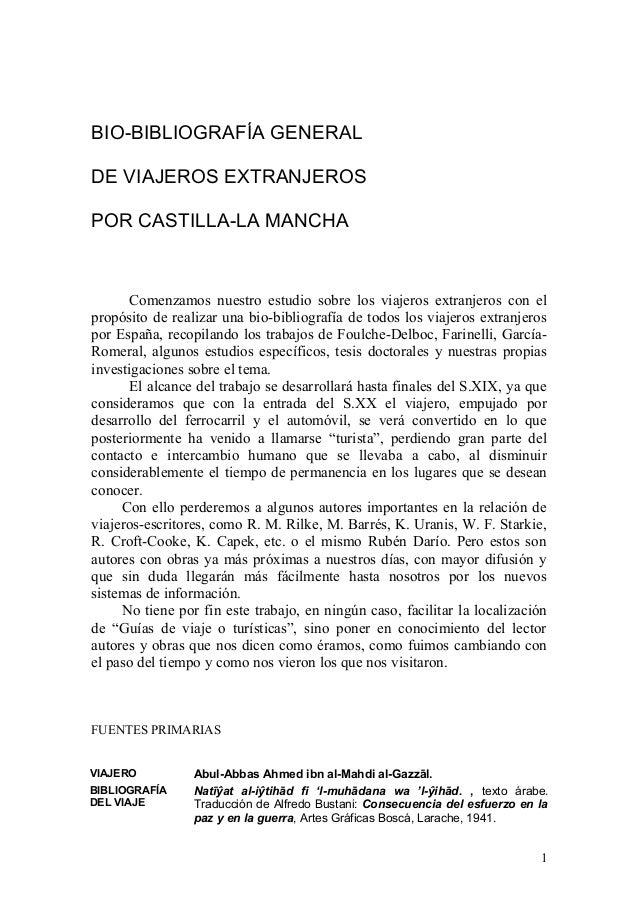 BIO-BIBLIOGRAFÍA GENERALDE VIAJEROS EXTRANJEROSPOR CASTILLA-LA MANCHA       Comenzamos nuestro estudio sobre los viajeros ...