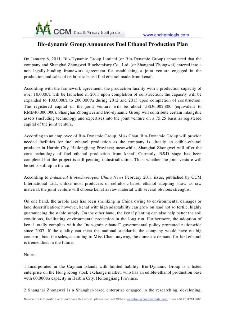 www.cnchemicals.com         Bio-dynamic Group Announces Fuel Ethanol Production PlanOn January 6, 2011, Bio-Dynamic Group ...