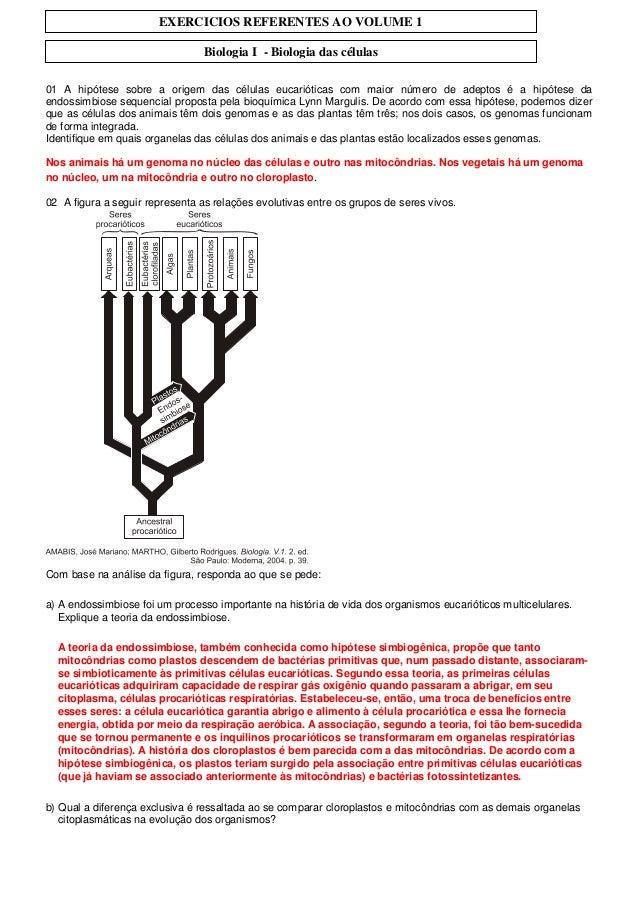 EXERCICIOS REFERENTES AO VOLUME 1                                 Biologia I - Biologia das células01 A hipótese sobre a o...