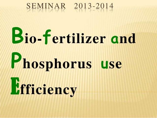 SEMINAR 2013-2014 Bio-fertilizer and Phosphorus use Efficiency