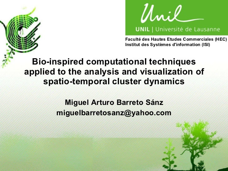 Bio-inspired computational techniques applied to the analysis and visualization of spatio-temporal cluster dynamics Miguel...