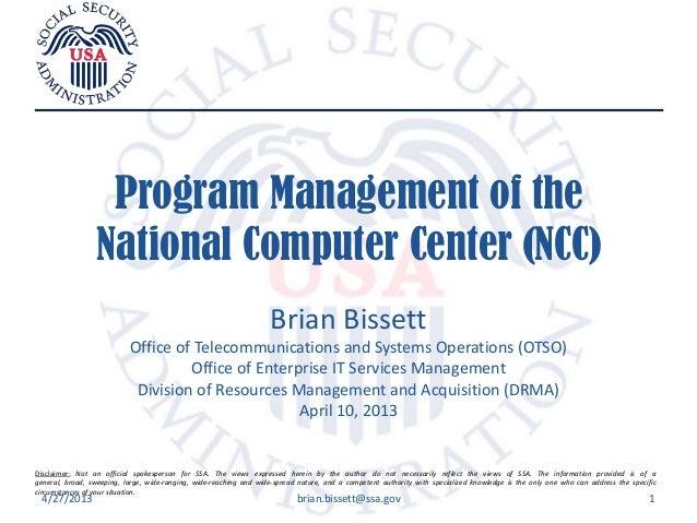 Program Management of SSA's Data Center OMB 300 Program