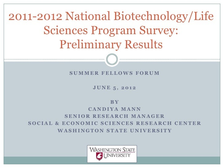 Bio link evaluation for sff - national program survey 6-1-12