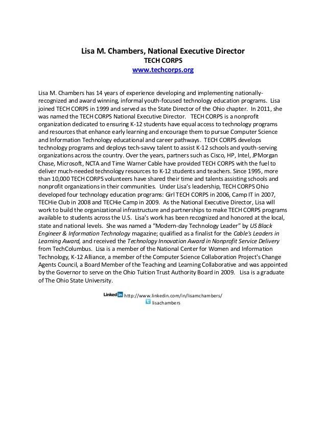 Lisa M. Chambers, National Executive Director                                     TECH CORPS                              ...