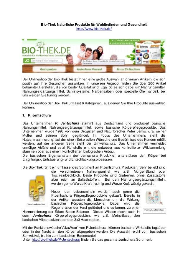 Bio-Thek Natürliche Produkte für Wohlbefinden und Gesundheit http://www.bio-thek.de/  Der Onlineshop der Bio-Thek bietet I...