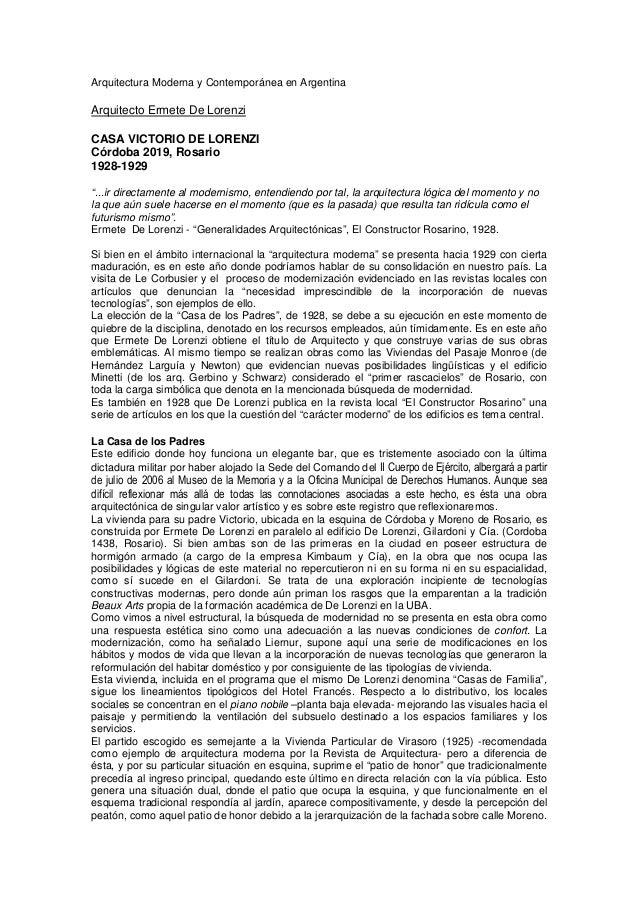 Arquitectura Moderna y Contemporánea en ArgentinaArquitecto Ermete De LorenziCASA VICTORIO DE LORENZICórdoba 2019, Rosario...