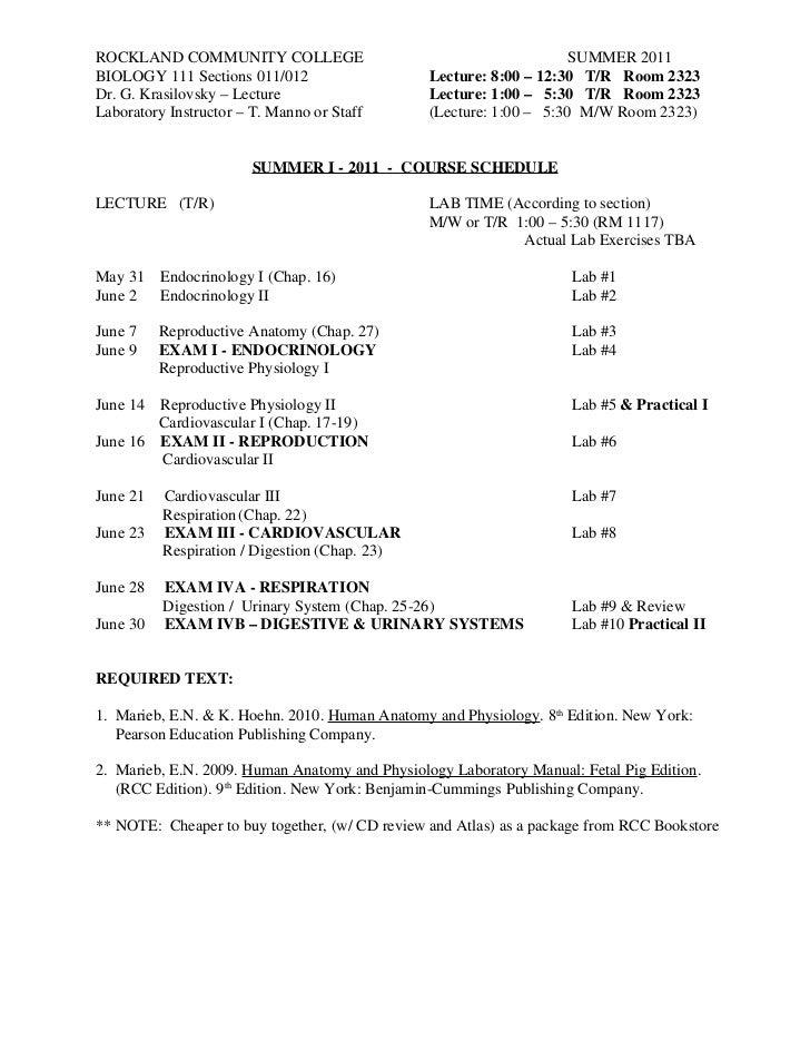 Bio 111 schedule 2011 tr