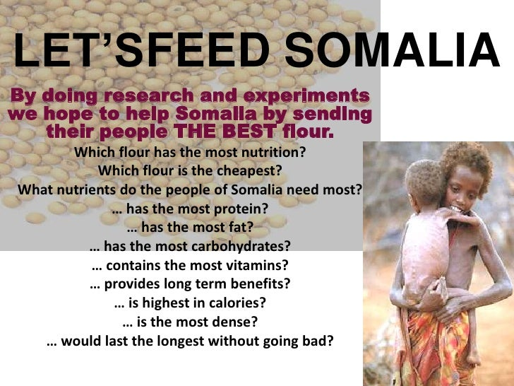LET'SFEED SOMALIA<br />By doing research and experiments we hope to help Somalia by sending their people THE BEST flour.<b...