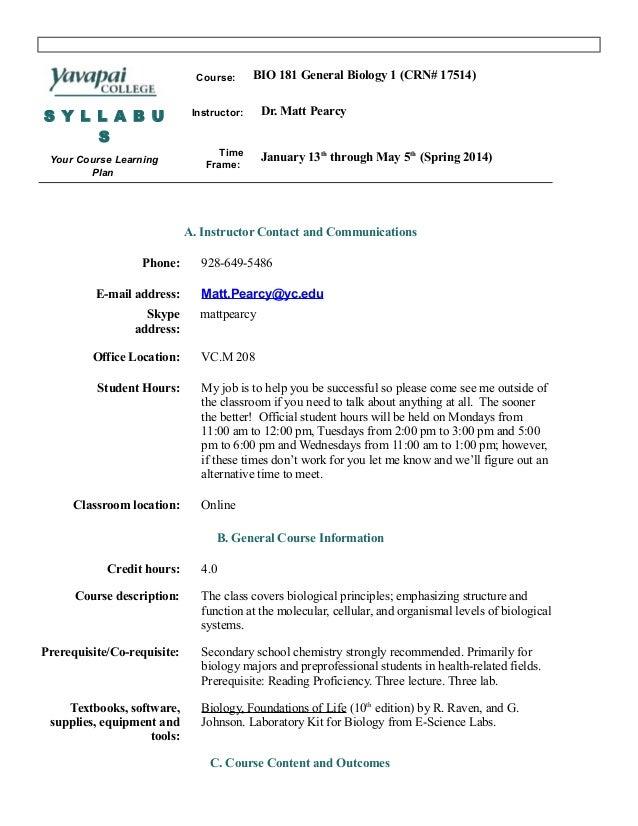 Bio 181 syllabus spring 2014