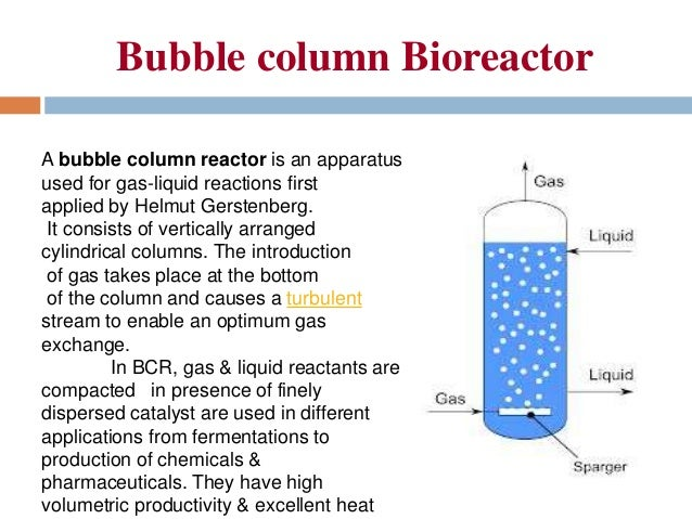 bubble column reactors Since the 1950s that slurry bubble column reactors (sbcrs) could be used to carry out f–t synthesis in this type of.