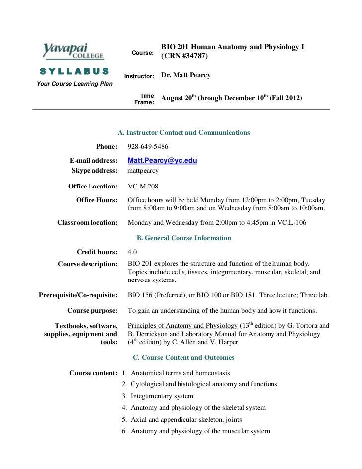 Bio 201 inperson syllabus fall 12