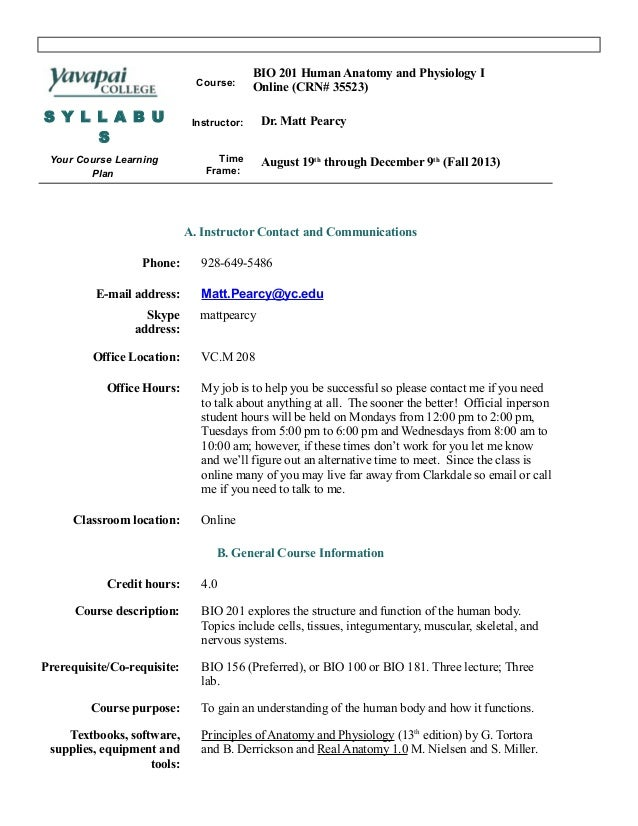 Bio 201 syllabus fall 2013 online
