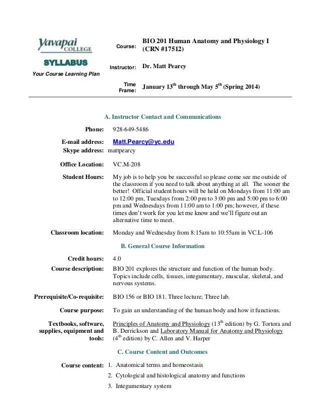 BIO 201 Syllabus Spring 2014