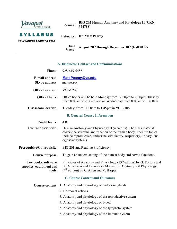 BIO 202 Human Anatomy and Physiology II (CRN                                 Course:    #34788) SYLLABUS                  ...