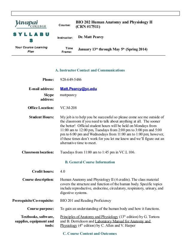 BIO 202 Syllabus Spring 2014