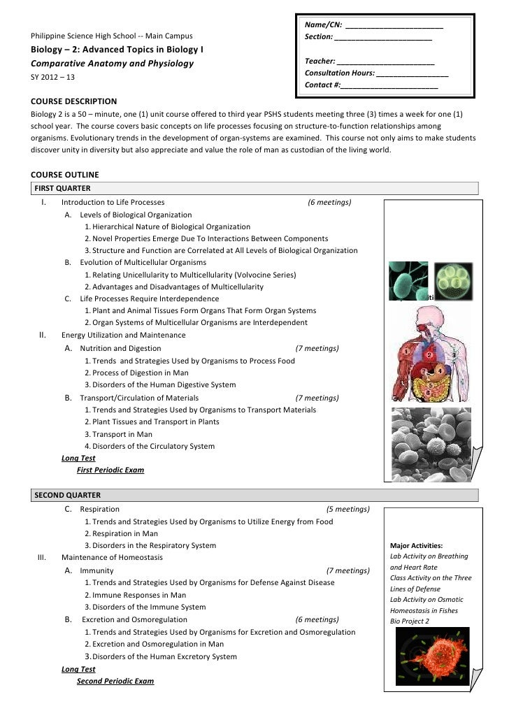 Bio2 course outline 2012 2013