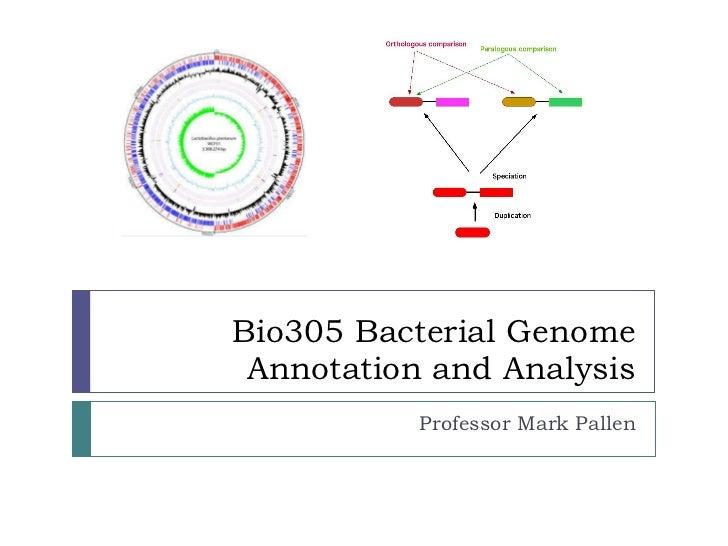 Bio305 Bacterial Genome Annotation and Analysis Professor Mark Pallen