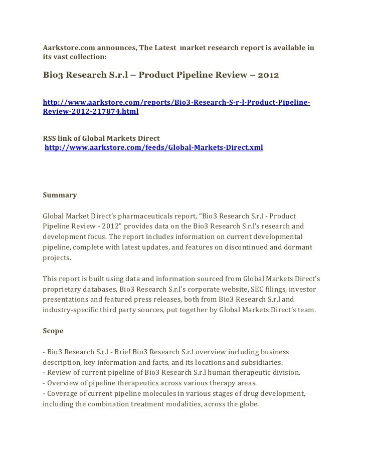 Bio3 research s.r.l – product pipeline review – 2012