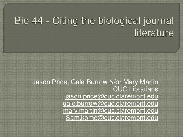 Citing the Biological Literature
