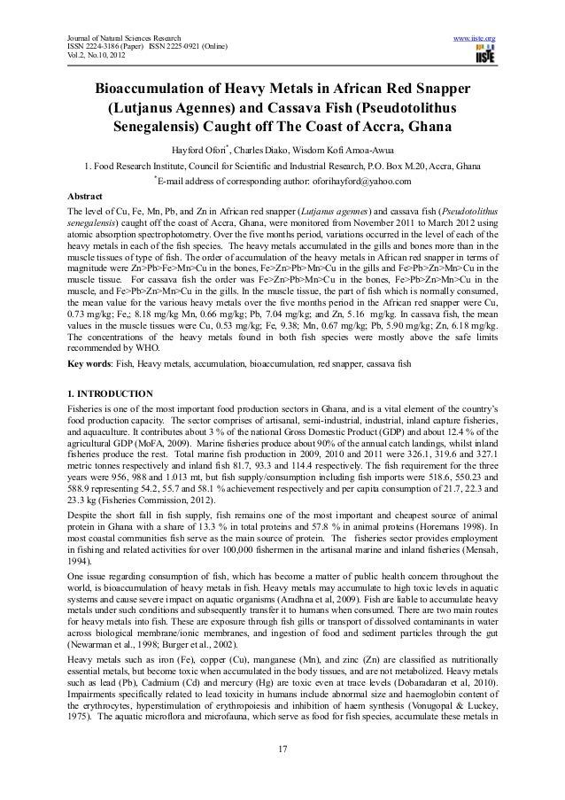 Bioaccumulation of heavy metals in african red snapper (lutjanus agennes) and cassava fish (pseudotolithus senegalensis) caught off the coast of accra, ghana
