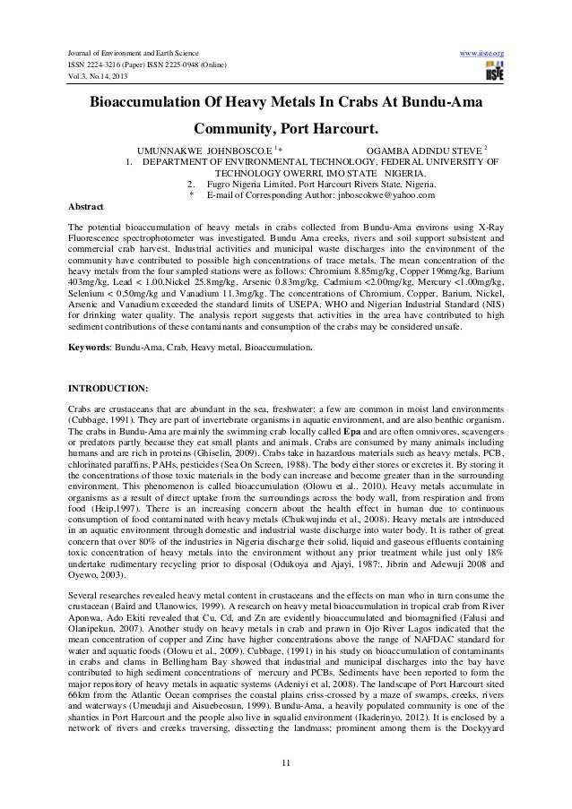 Bioaccumulation of heavy metals in crabs at bundu ama community, port harcourt
