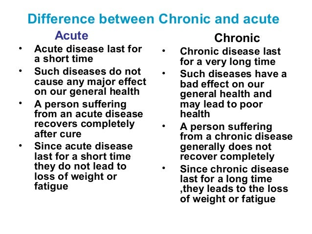 how do chronic diseases differ from A chronic illness is stressful stress can affect your recovery and the way you cope with the illness and its treatment there are things you can do to help you come to terms with the new direction your life has taken a chronic or long-term illness means having to adjust to the demands of the.