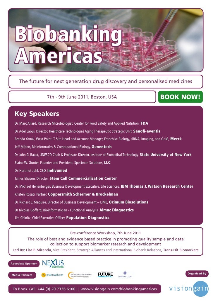 Biobanking  Americas     The future for next generation drug discovery and personalised medicines                        7...