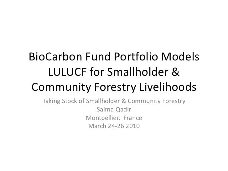 Bio carbon Fund Portfolio Models LULUCF for smallholder and community forestry livelihoods