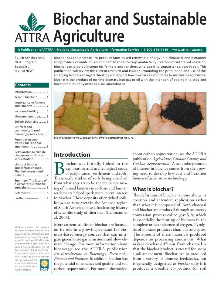 Biochar and Sustainable                                            Agriculture    A Publication of ATTRA—National Sustaina...