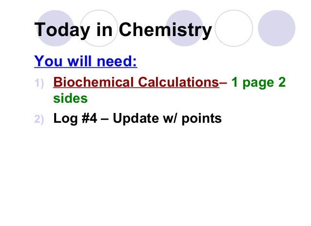 Today in Chemistry You will need: 1) Biochemical Calculations– 1 page 2 sides 2) Log #4 – Update w/ points