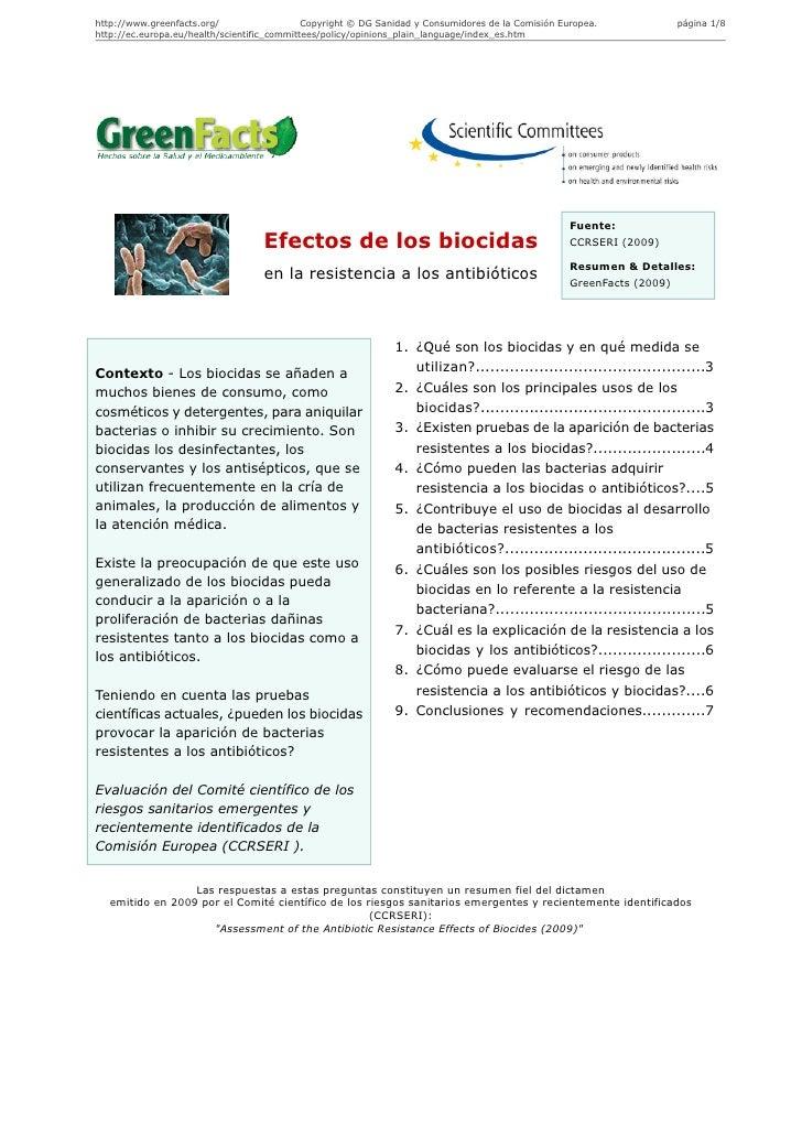 Efectos de los biocidas en la resistencia a los antibióticos