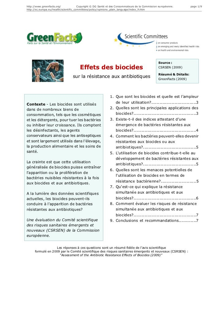 Effets des biocides sur la résistance aux antibiotiques