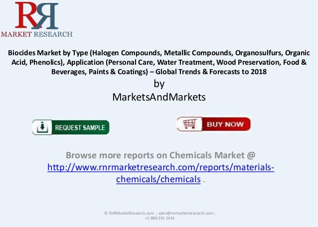 Biocides Market by Type (Halogen Compounds, Metallic Compounds, Organosulfurs, Organic Acid, Phenolics), Application (Pers...