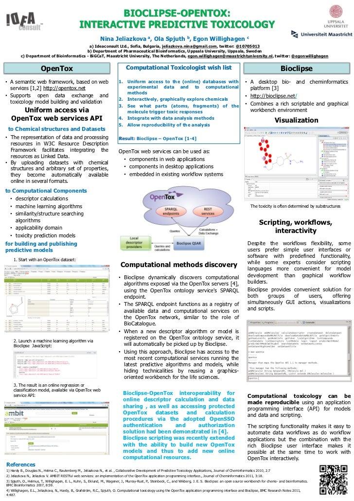 EuroQSAR2012: BIOCLIPSE-OPENTOX:  Interactive Predictive Toxicology