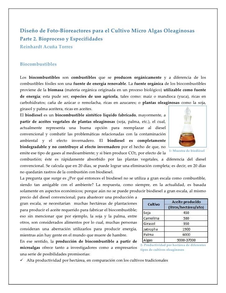Diseño de Foto-Bioreactores para el Cultivo Micro Algas OleaginosasParte 2. Bioproceso y EspecifidadesReinhardt Acuña Torr...