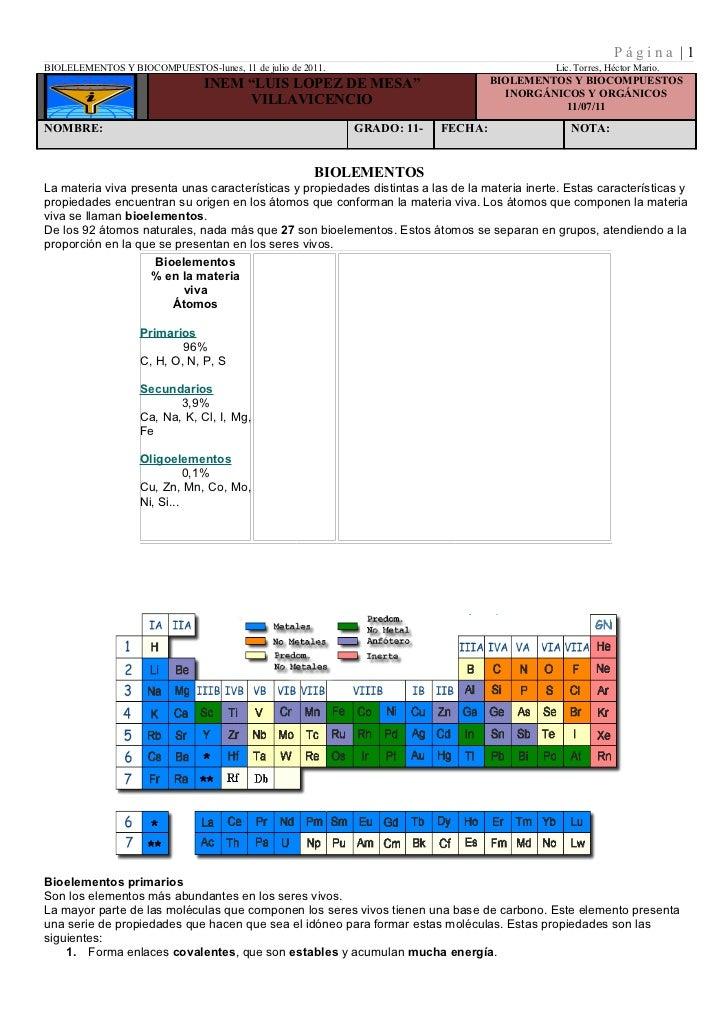 Página |1BIOLELEMENTOS Y BIOCOMPUESTOS-lunes, 11 de julio de 2011.                                       Lic. Torres, Héct...